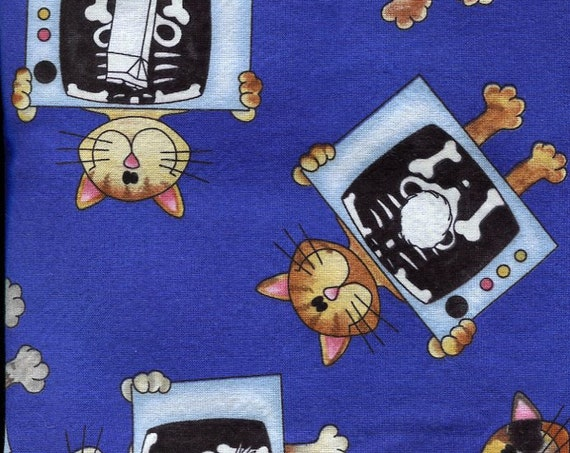 "Xray Cats Fabric, 2 yards of 44"" wide,  perfect for Veterinarian Scrubs adorable assorted cats being xrayed on blue background"