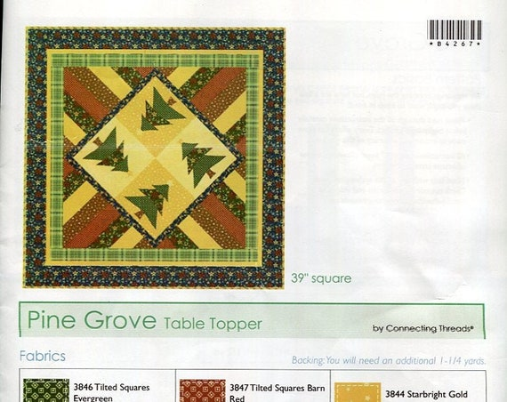 """Fabric and Pattern to make the Pine Grove Table Topper Finished size 39"""" square"""
