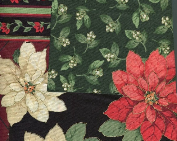 """Christmas Fabric Holly Poinsettia 4 yards 56"""" wide Cheater Quilt All Cotton Great Feel"""