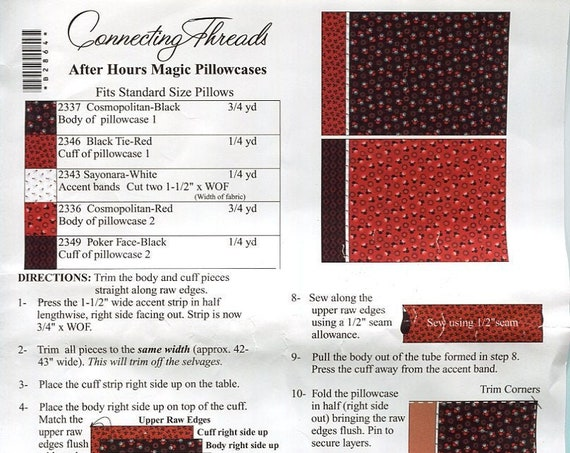 Fabric & Pattern to make Two After Hours Magic Pillowcases