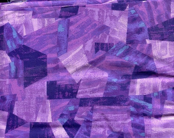 """Perplexingly Purple Print Fabric 2 yards of 43"""" wide cotton with a kaleidoscope of shapes and colors, mostly purple"""