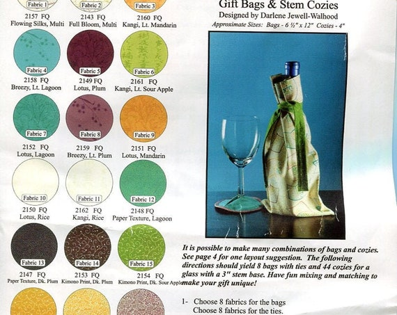 Fabric and Patterns to make Gift Bags for Wine Stem Cozies for Wine Glasses 19 FQ
