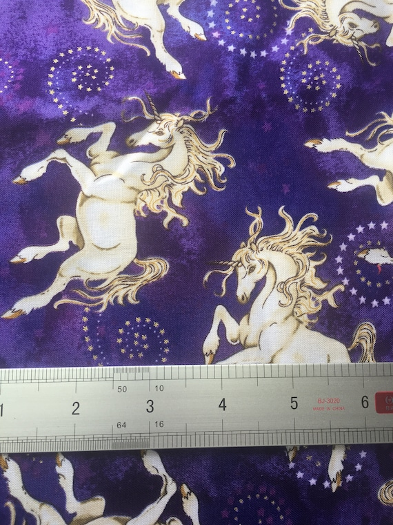 """Dancing Unicorns, Elegant & Gorgeous,  Cotton Fabric 44"""" Wide Sold per yard, 3 yards available"""
