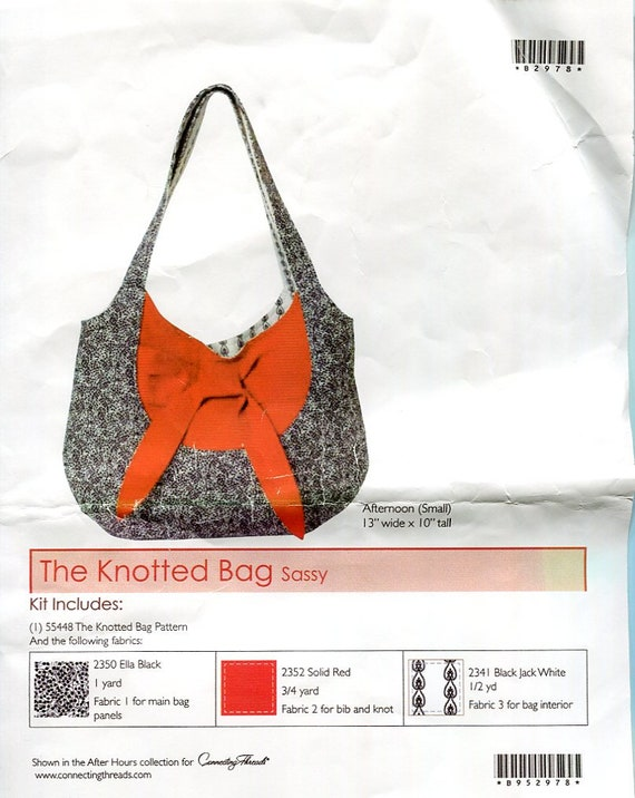 Sassy Knotted Bag  Pattern and Fabric in Red, Black and White