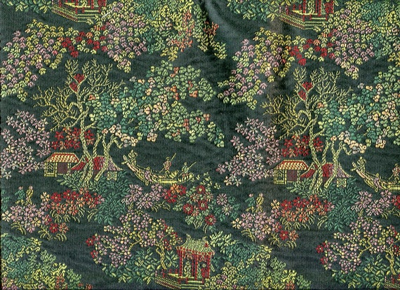 """Gorgeous, Intricate, Oriental design, Mystery Fabric 52"""" wide by 20"""" long heavy upholstery type"""