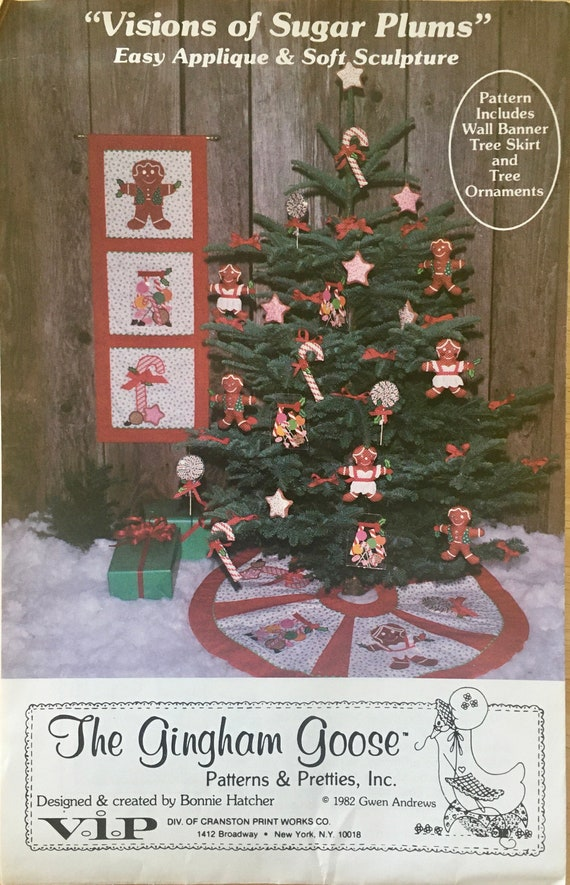 Visions of Sugar Plums Pattern includes Wall Banner, Tree Skirt and Ornaments.  designed by Bonnie Hatcher Vintage OOP
