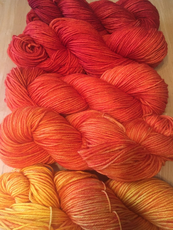DRAGON'S FLAME Color Fade Yarn Merino/Cashmere 5 skeins of Indie Kettle Dyed Beauty and Uniqueness
