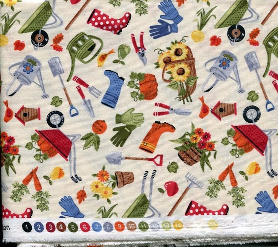 Good Life Garden Tools Fabric by Makower UK 100% Cotton 2 yards