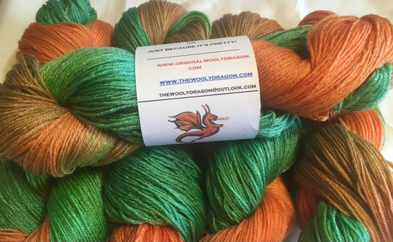 PUMPKIN PATCH Wool/Tencel Sock Yarn Indie Hand Painted Soft and Unique