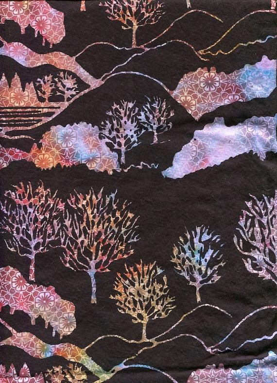 "Scenic Bali Batik, Retired pattern, Gorgeous, 44"" wide 3 yards, Wonderful color"