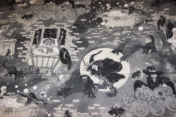 Witchie Poo & Her Fun Day, Halloween Fabric by the 1/2yard cut