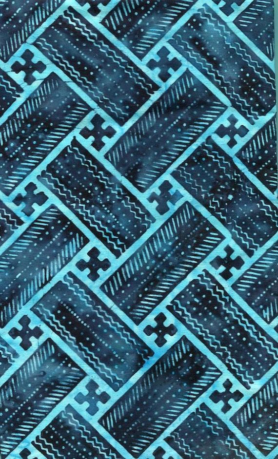 "Indigo Batik Block Print Fabric, 1 yard 44"" wide, Deep Saturation right to the Selvage, 100% Cotton"