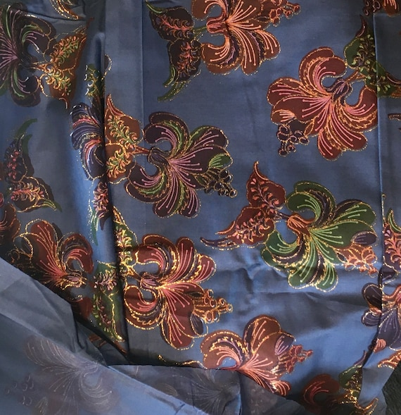 """Prussian Blue Floral, Elegant & Gorgeous,  Cotton Fabric 42"""" Wide x 1 yard: 2 yards available"""