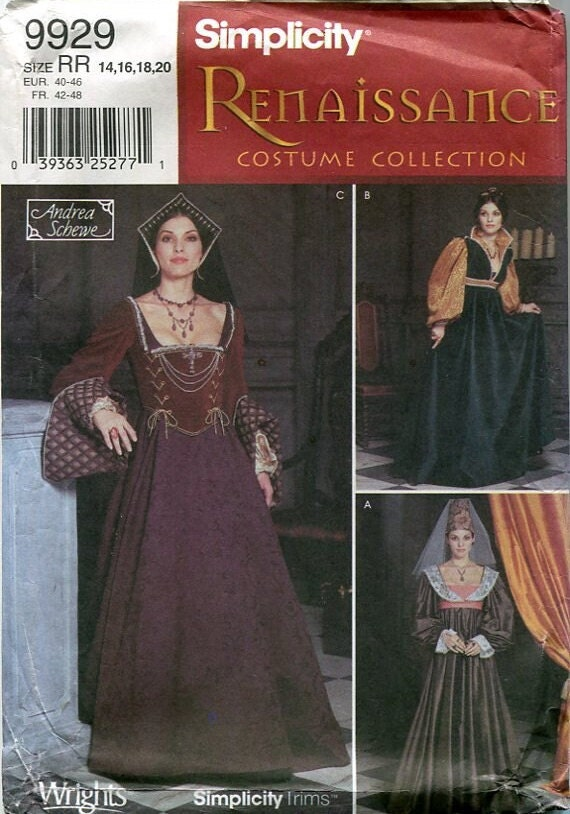 Simplicity pattern 9929 from the Renaissance Costume Collection, Andrea Schewe designer, Sizes 14-20