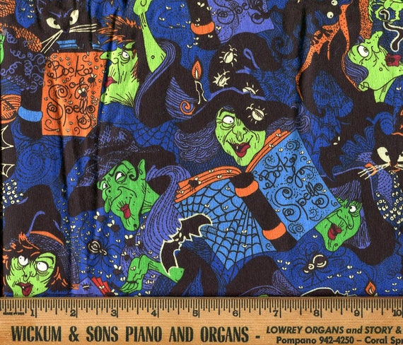 """Book of Spells Halloween Fabric, VIP by Cranston Printed in USA, Witches & More, 40"""" wide Sold by the yard, Cotton, Vintage"""