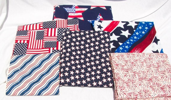 A Plethora of Patriotic Fabric, 6 different pieces totalling over 3.5 yards, All Cotton, All Quality Goods