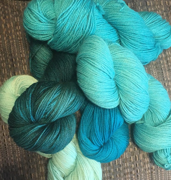 TURQUOISE DRAGON Color Fade Yarn  100% Baby Alpaca from Peru 5 skeins of Indie Kettle Dyed Beauty and Uniqueness