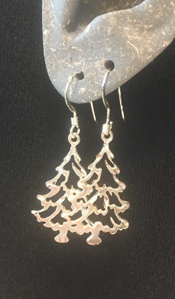 "Christmas Tree Earrings, Laser cut, Sterling Silver, from 1990, 1.5"" drop, trees 1""+"