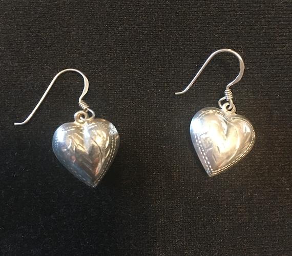 Vintage SS Earrings, Puffed, Engraved Hearts dangling from fishhook earwires