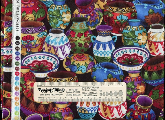 Colorful Pottery by Hi-Fashion Fabrics, Inc. 100% Cotton