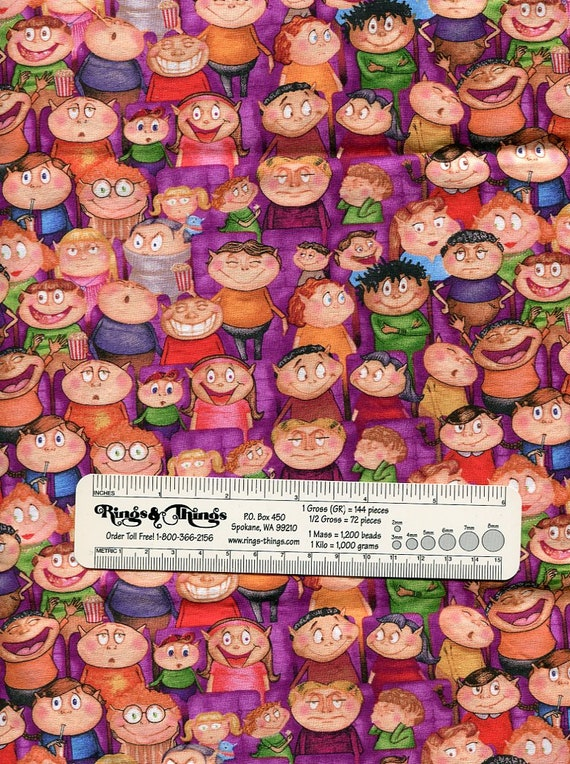 """Imps at the movies Halloween Fabric Vintage, Out of Print, Can't find anywhere, 1/2 yard of 42"""" wide."""