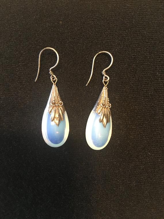 Vintage Drop Earrings, Sterling Silver and MM Moonstones
