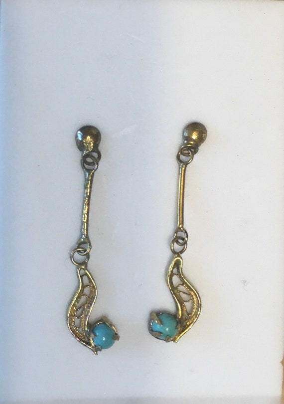 Vintage Earrings, Dangle Gold & Turquoise ... Maybe