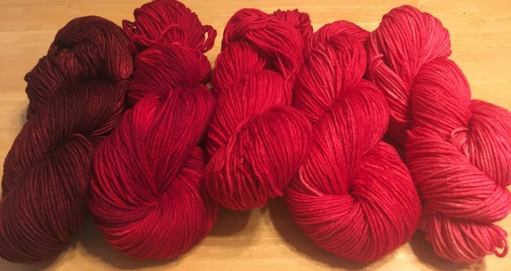 DRAGON'S HEART Color Fade Yarn  Merino/Cashmere 5 skeins of Indie Kettle Dyed Beauty and Uniqueness