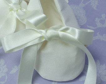 Carrington Silk Christening Booties by Okika made in England