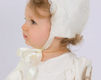 Silk and Lace Christening Bonnet by Okika, made in England