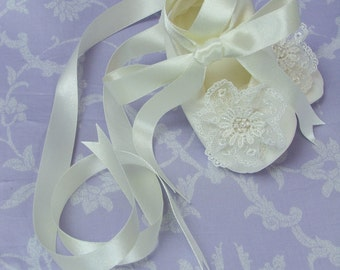 Lace Rosette Silk Christening Booties by Okika made in England