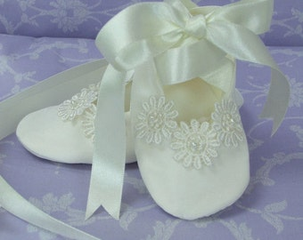 Daisy Silk Christening Booties by Okika made in England