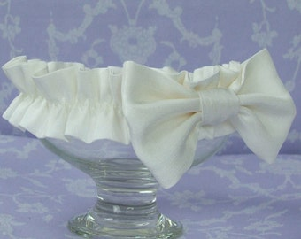 Silk Bow Christening Headband by Okika made in England
