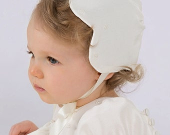 Scalloped and tripple Beaded Silk Christening Bonnet made in England