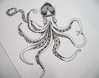 A4 White Squid Illustration