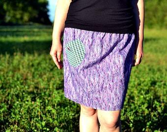 violet grain skirt, with pocket
