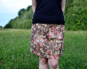 brown skirt with roses