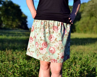 blue skirt with roses