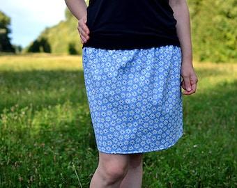 blue flowery skirt