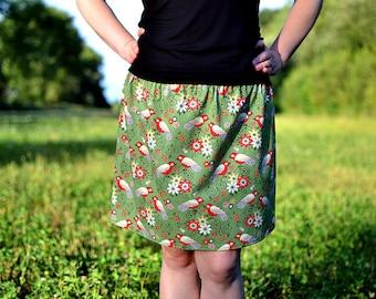 green skirt with birds
