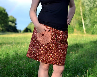 brown bubbly skirt, with pocket