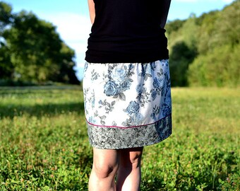 skirt with blue roses and grey hem