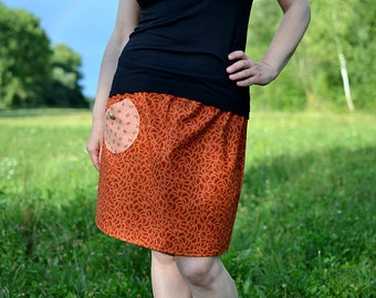 orange skirt with circles, with pocket