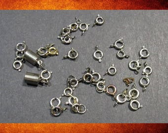 Clasps -  Assorted Spring Ring. Salvage Special! 33 pieces for jewelry making.   #FIND-087