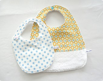 """Meal kit """"my first year"""": set of 2 cotton bibs collection CIEL BLEU"""