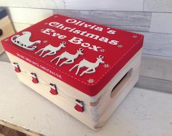 Christmas eve box, personalised box, decorated Christmas box, personalised wooden crate, Family fun xmas, CIJ 2017. Traditional christmas,