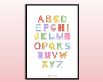 Alphabet Print for Playroom A5, Educational Gift