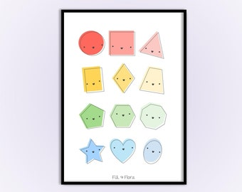 Shapes Print for Playroom for Children, Educational Gift