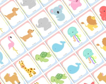Animal Flashcards Game, Snap And Memory Game for Children, Educational Gift