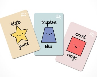 French Colours Flashcards, French Shapes Flashcards for Children, Educational Gift